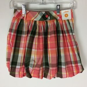Gymboree 9 NWT Bubble Skirt Plaid Adjustable Waist